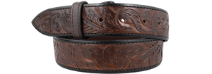 "Western Tooled 1 1/2"" Straight Belt Strap - Dark Brown"
