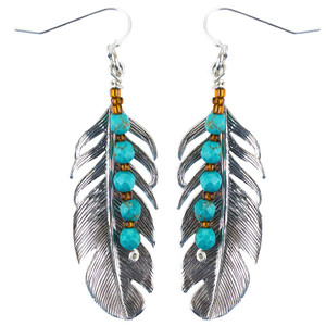 Breathe Deep Designs Silver Feather and Turquoise Earrings
