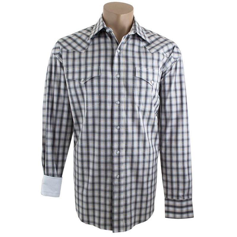 Stetson Black and Grey Shadow Ombre Plaid Shirt - Front