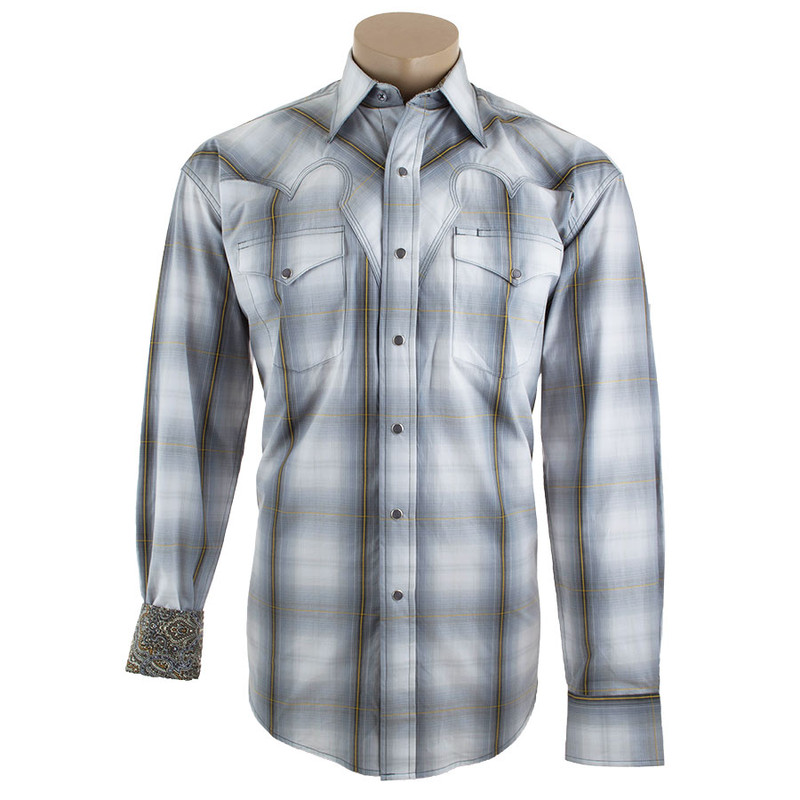 Stetson Black and Gray Hunters Plaid Snap Shirt - Front