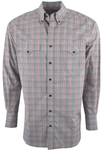 LYLE LOVETT FOR HAMILTON OLIVE, PINK AND ORANGE CHECK SHIRT-FRONT