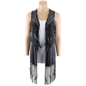 Pat Dahnke Fringe and Feathers Distressed Vest