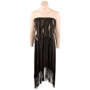 Pat Dahnke Waterfall Fringe and Feather Strapless Maxi Dress