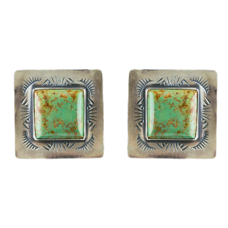 Earrings - Silver/Turquoise Square Earrings - Front