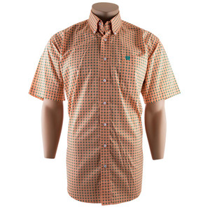 Cinch Short Sleeve Orange and Green Diamond Print Shirt