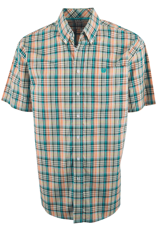 Cinch Short Sleeve Yellow, Green and Orange Plaid Shirt - Front