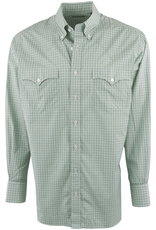 Lyle Lovett for Hamilton Green and White Poplin Check Shirt - Front
