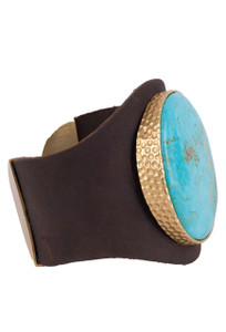 Christina Greene Turquoise Leather Cuff - side