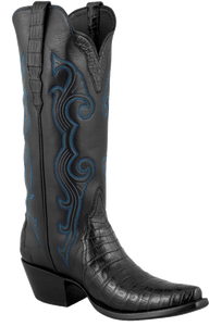 Stallion Women's Black Caiman Crocodile Triad Boots - Hero
