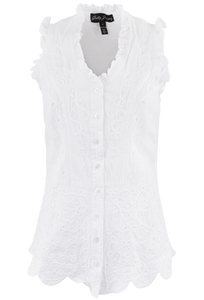 Gretty Zueger Sleeveless Ruffle Top - White - Front