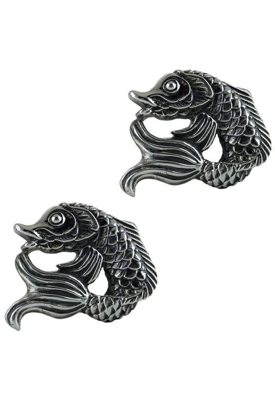 Jeff Deegan Koi Fish Silver Cufflinks - Front