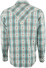 Ryan Michael Ombre Plaid Snap Shirt - Pool - Back