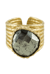 Christina Greene Pyrite Stackable Ring - Front