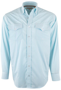 Miller Ranch Light Blue and White Stripe Shirt - Front