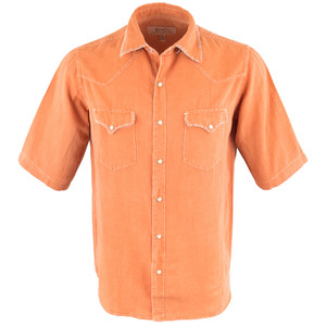 Ryan Michael - Short Sleeve Whip Stitch Snap Shirt - Coral