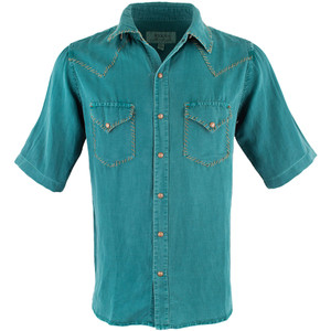 Ryan Michael Short Sleeve Classic Whipstitch Shirt - Teal