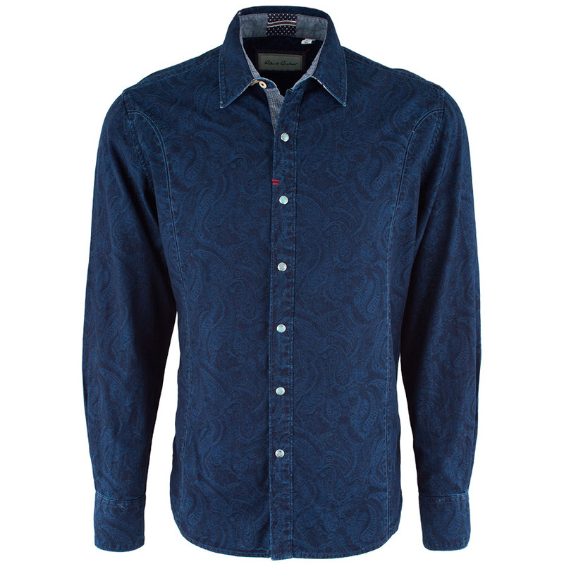 Robert Graham Travis Navy Snap Shirt - Front