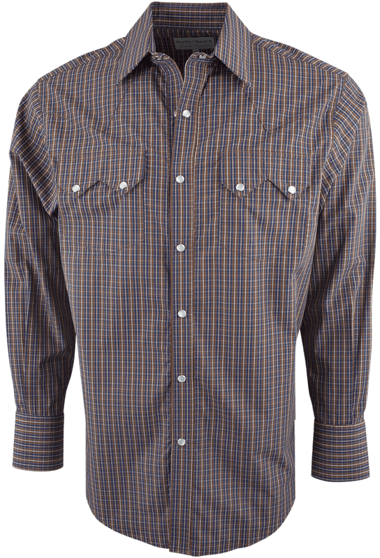 Pinto Ranch by Stubbs Brown and Navy Check Snap Shirt - Front