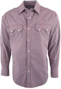 Pinto Ranch by Stubbs Red with Blue and White Plaid Snap Shirt - Front