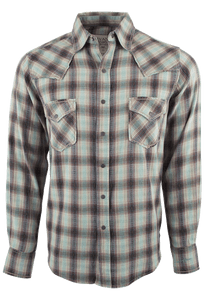 Ryan Michael Vintage Dobby Plaid Shirt - Sage - Front