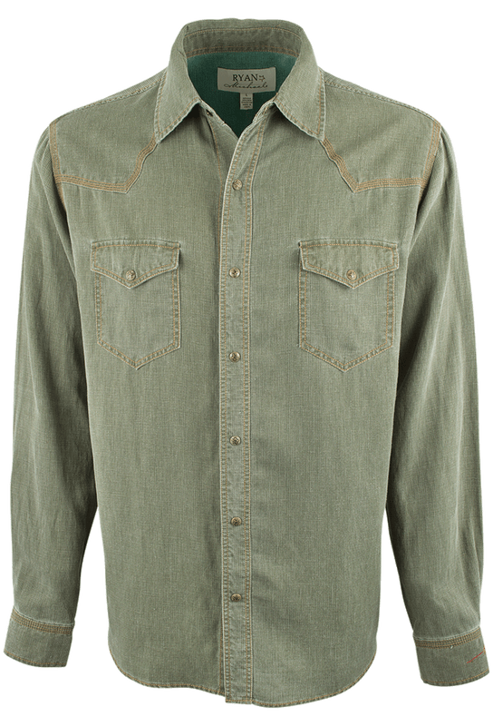 Ryan Michael Waffle Texture 4-Needle Snap Shirt - Olive - Front