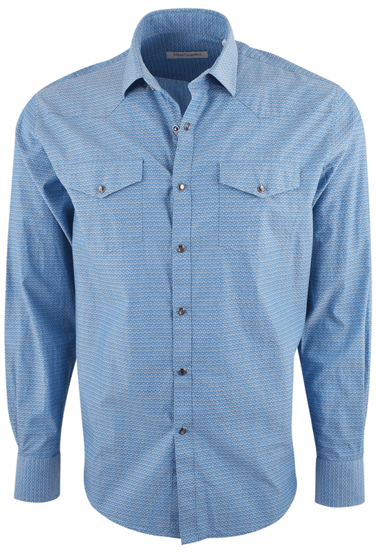 James Campbell Fitz Water Blue Dobby Snap Shirt - Front