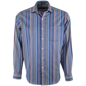 Bugatchi Night Blue Vivid Striped Shirt - Front