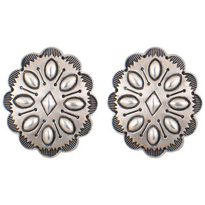 Earrings - Oval Stamped Concho Earrings