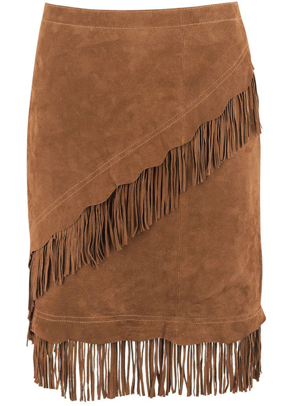 Scully Short Suede Fringe Skirt - Cinnamon - Front