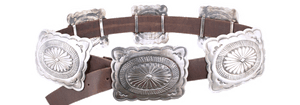 Silver Fluted Concho Belt - Brown