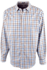 Bugatchi Blue and Sand Basketweave Shirt - Front