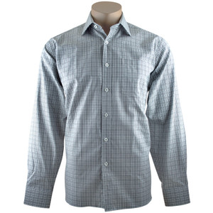 Bugatchi Black and White Houndstooth Plaid Shirt