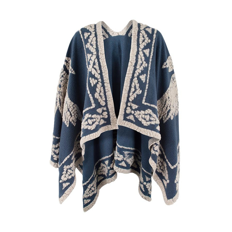 Ryan Michael Headress Shawl - Indigo - Front
