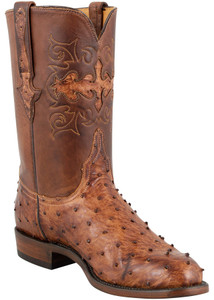 Lucchese Men's Barnwood Full-Quill Ostrich Roper Boots