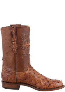 Lucchese Men's Barnwood Full-Quill Ostrich Roper Boots - Side