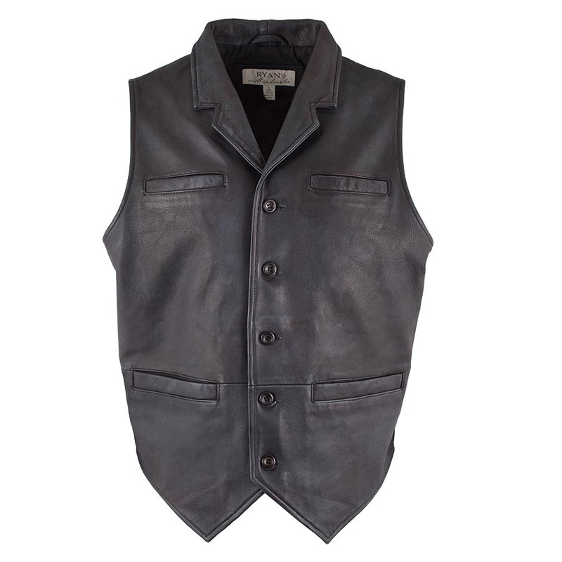 Ryan Michael Old West Leather Vest - Black - Front