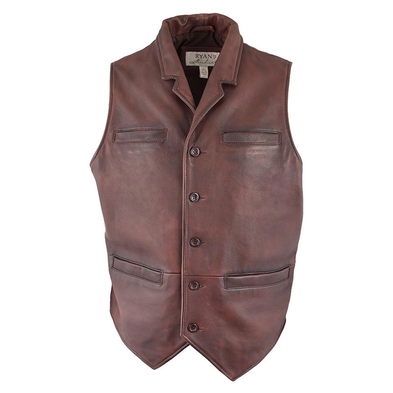 Ryan Michael Old West Leather Vest - Brown - Front