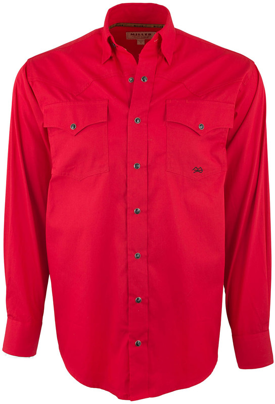 Miller Ranch Red Solid Snap Shirt - Front