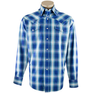 Stetson Blue Pick Stitch Checkered Ombre Print Shirt - Front