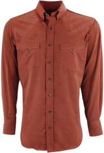 Lyle Lovett for Hamilton Orange Solid Corduroy Shirt - Front