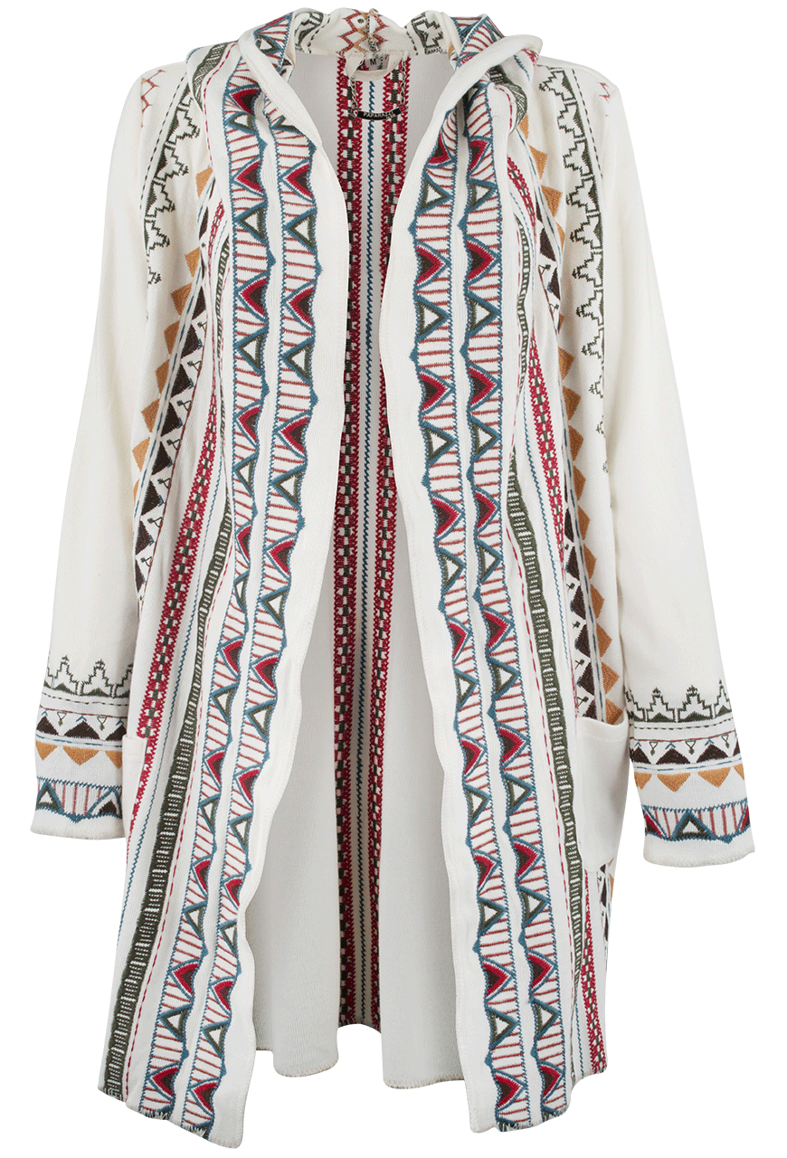 Paparazzi Embroidered Hoodie Sweater Coat - Pinto Ranch