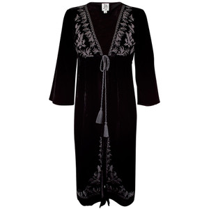 Ivy Jane Embroidered Velvet Kimono Long Coat - Front