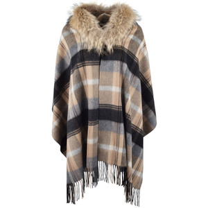 Linda Richards Plaid Shawl with Fur Collar