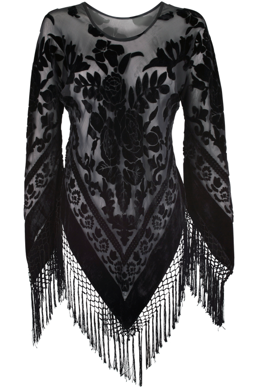 Pat Dahnke Bias Silk Fringe Burnout Top Black - Front
