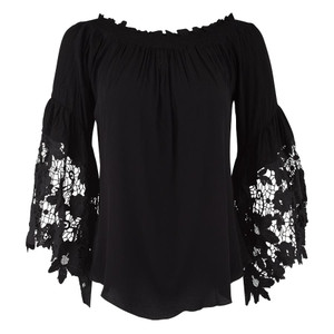 Muche et Muchette Black Venus Flower Lace Top - Front