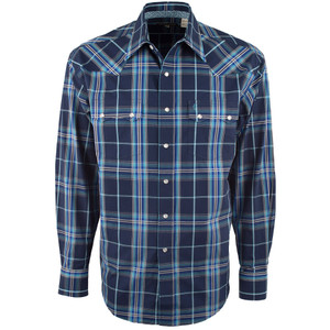 Stetson Sawtooth Blue Plaid Snap Shirt - Front