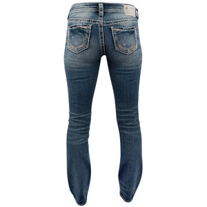 Silver Jeans Suki Mid-Rise with Flat Lace Pocket Jeans - Back