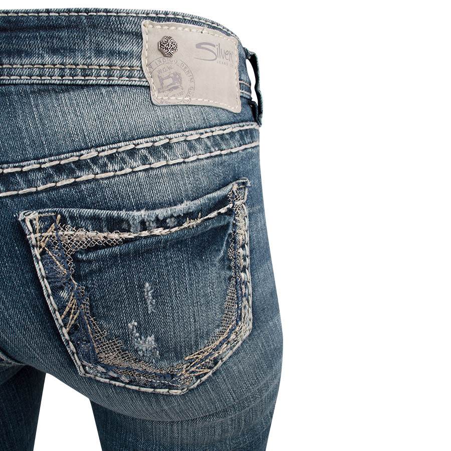 Silver Jeans Suki Mid-Rise with Flat Lace Pocket Jeans - Pinto Ranch