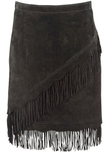 Scully Short Suede Fringe Skirt - Black - Back