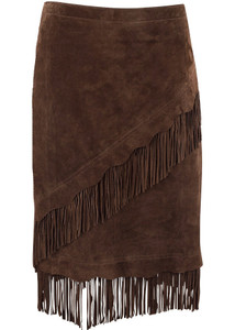 SCULLY SHORT SUEDE FRINGE SKIRT - CHOCOLATE - Front